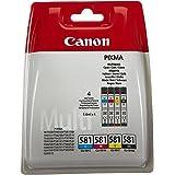 Canon CLI-581Cartouche C/M/Y/BK Multipack Cyan, Magenta, Jaune, Noire (Multipack plastique sécurisé)