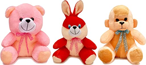 Soft Toy Combo Rabbit Monkey and Teddy for Kids Birthday Gift - Multi Color 25 cm(3 pc)