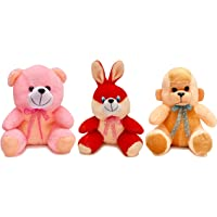 Babique Soft Toy Combo Rabbit Monkey and Teddy for Kids Birthday Gift - Multi Color 25 cm(3 pc)