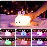 Yafido Dimbaar led-nachtlampje voor kinderen, konijntje, nachtlampje van silicone met USB-oplaadbare touch-lamp voor kinderka