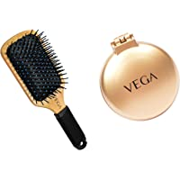 Vega Premium Collection Wooden Paddle Hair Brush & Vega Pop up Brush, (R2-FM), Multicolor, 42 Gms