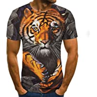 HHSW White T Shirt Lion Tiger 3D Digital Print T-Shirt