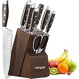 homgeek Set Coltelli da Cucina Professionale, Coltello in Acciaio Inossidabile Tedesco 1.4116 con Blocco Coltelli in Gomma, 8