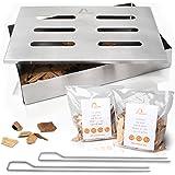 Amazy Affumicatore Box in Acciaio Inox con 2 spiedini per Grill e 2 Tipi di Chips Diverse - Affumicatore Barbecue Offre al Pe
