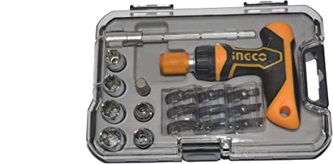 Combo 919 Tool kit of 19 Pieces for Home (Ingco Professional Industrial Grade 18 Pieces T-Handle Ratchet Wrench Screw Driver Set with Box spanners + Rustom 8 inch Industrial Combination plier