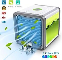 Luftkühler Mini Klimaanlage Ventilator Air Cooler mit Wasserkühlung Zimmer Verdunstungs Mobil Klimageräte, Luftbefeuchter&Luftreiniger ohne Abluftschlauch für Wohnung/Tragbare Klimaanlage Personal Space Air Cooler für Haus, Büro und Usw