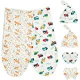 Baby Swaddle filtar wrap med nyfödda bomullskeps vantar för 0-6 månader unisex, paket med 2 swaddles sovsäckar + 2 nyfödda be