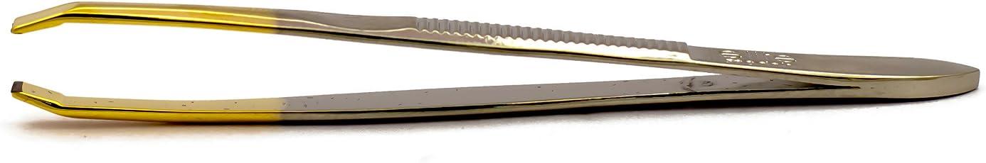 Elite Models Gold Tipped Straight Manicure Tool Tweezers / Professional Plucker, 4.8x0.8x14.3cm/9g (ABC1204)