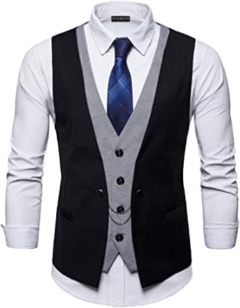 YCUEUST Mens Top Designed Wedding Business Casual Slim fit Suits Waistcoats Dress Vest