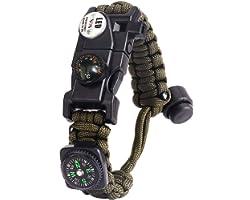 Paracord Survival Bracelet Kit Adjustable with Flint fire starter + Compass + Thermometer + Whistle + Umbrella rope + LED lig