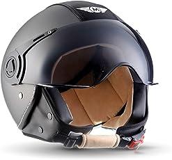 Moto Helmets H44 Vintage Titan · Roller-Helm Vespa-Helm Jet-Helm Retro Pilot Bobber Chopper Biker Helmet Mofa Vintage Cruiser Scooter-Helm Moto Helmetsrrad-Helm · ECE zertifiziert · inkl. Sonnenvisier · inkl. Stofftragetasche · Grau · XL (61-62cm)