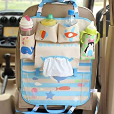 CONNECTWIDE Premium Car Backseat organizer for Baby and Kids Travel accessories, Thermal Storage Bottles, Pockets, Tissue Box, Toys, Garbage Bag, Universal Use Car Backseat organizer for Baby and Kids Travel accessories, Thermal Storage Bottles, Pockets, Tissue Box, Toys, Garbage Bag, Variety Designs. (Blue)