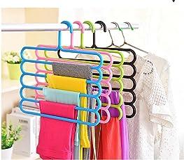 Everbuy ™ Multipurpose Plastic Hanger - Multipurpose Hanger for Shirts, Ties, Pants Space Saving Hanger, Cupboard Organizer, Strong (Multiple Assorted Color)