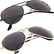 Creature Uv Protection Aviator Unisex Sunglasses Combo(Sun-004-005  50  Black)