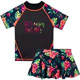HUAANIUE Girls 2PCS Swimsuit 3-11Y Swimming Set Short Sleeve Swimwear Summer Beach Swimming Costume Outfit Sun Suit