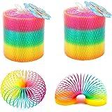 gotyou 4 stycken färgglada regnbåge cirklar, regnbåge spiral vår magiska hoppleksak, plast neonfärger leksak, barnleksaker ve