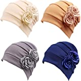 4 Piezas Turbantes para Mujer,Pañuelos Quimioterapia,Gorros Oncologicos para Mujer,Pañuelo Cabeza Mujer,Mujer Pelo Largo Vera