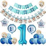 sancuanyi 1er Cumpleaños Bebe Globos Decoracion, Cumpleaños 1 Año Bebe Niño, Globos Numeros 1 Decoracion, Azul Decoración de