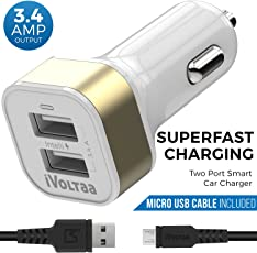 iVoltaa 3.4A Dual Port Car Charger with Micro USB Cable - White