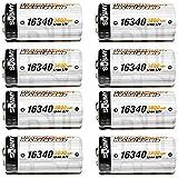 8 Piles Batterie Rechargeable RCR123A CR123A 3.7V 3600mAh Li-ION ACCU | IDÉAL pour Les Camera Arlo VMS3030/3130/3230/3330/3430…