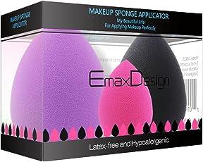 EmaxDesign 3-er Set EmaxBeauty Make-up Blender Schwämmchen,Foundation Blending Blush Concealer Augen Gesicht Pulver Creme Kosmetik Schwamm. Latexfreien, AntimikrobiellenSchaumstoff,Gegen Bakterien