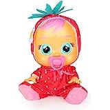 CRY BABIES Tutti Frutti Ella, fragola, Bambola Interattiva Profumata alla Fragola che Piange Lacrime Vere con Ciuccio, per Ba