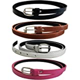 Dryon Women's PU Leather Belts Set of 4 Combo Offer (Black,Brown,White & Pink)