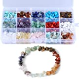 LQKYWNA Kit de fabricación de cuentas de piedra para joyas, collares, pulseras, pendientes, con caja portátil, piedra de lava
