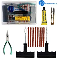 TIREWELL TW-5003 Tubeless Tire Puncture Repair Kit 6 in 1 Portable Flat Tyre Puncher Repair Box for Cars, Trucks…