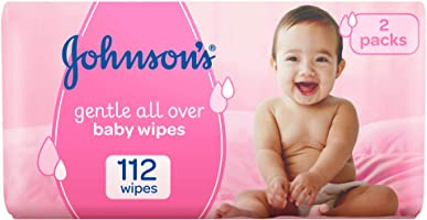 JOHNSON'S Baby, Wipes, Gentle All Over, Pack of 112 wipes