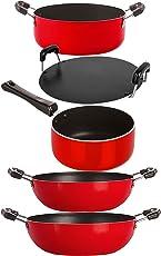 Nirlon Flat Base Heat Resistance Non-Stick Pots and Pans Cooking Combo Set Offer
