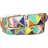 ESPERANTO Cintura in Pitone e Struzzo altezza 4 cm -Lavorazione Patchwork Soggetto Triangoli Multicolori