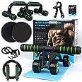 AB Roller Buiktrainer, 10-in-1 buiktrainer, buikroller + anti-slip kniebeschermer, glijschijven, push-handgrepen, fitnessweer
