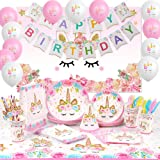 176 PCs Unicorn Party Supplies Birthday Decorations Girl Unicorn Paper Plates Cups Napkins Straws Cutlery Table Cloth…