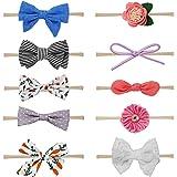 HBselect 10 stk Stirnband Baby Haarband mit elastsichem Band Mädchen Kinder Blumen Blüte Haarschmuck für 3-36 Monate