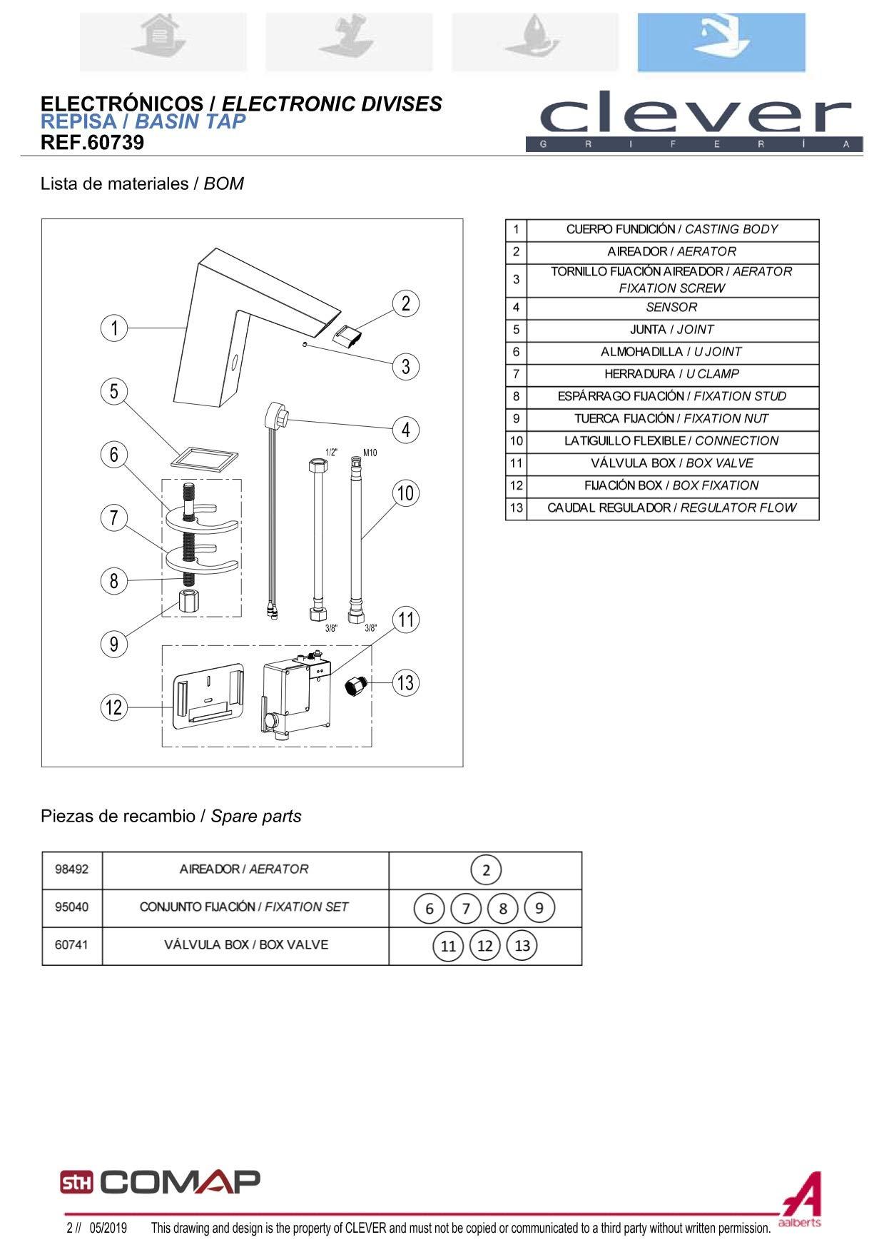 Grifo de lavabo con sensor electrónico Clever Platinum 100mm con caño en cascada