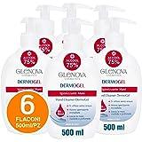 6x Flaconi Gel per Mani GLENOVA 500ml Alcool 75% Dispenser Igienizzante Antibatterico Profumato con Dosatore Sanificante Alco