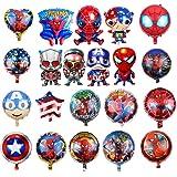 HYOUNINGF 21 Palloncini Foil per Feste di Compleanno di Supereroi PC, Palloncini Foil di Supereroi per Regali per Bambini Decorazioni per Feste di Compleanno (21)