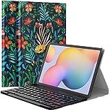 MoKo Toetsenbordhoes compatibel met Galaxy Tab S6 Lite 2020, PU Tablet Cover Shell Case met Verwijderbaar Draadloos Toetsenbo