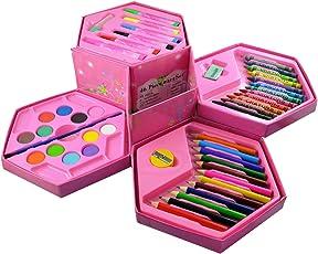 Infinxt Colors Box Color Pencil,Crayons, Water Color, Sketch Pens Set Of 46 Pieces (Color & Design For Girls)