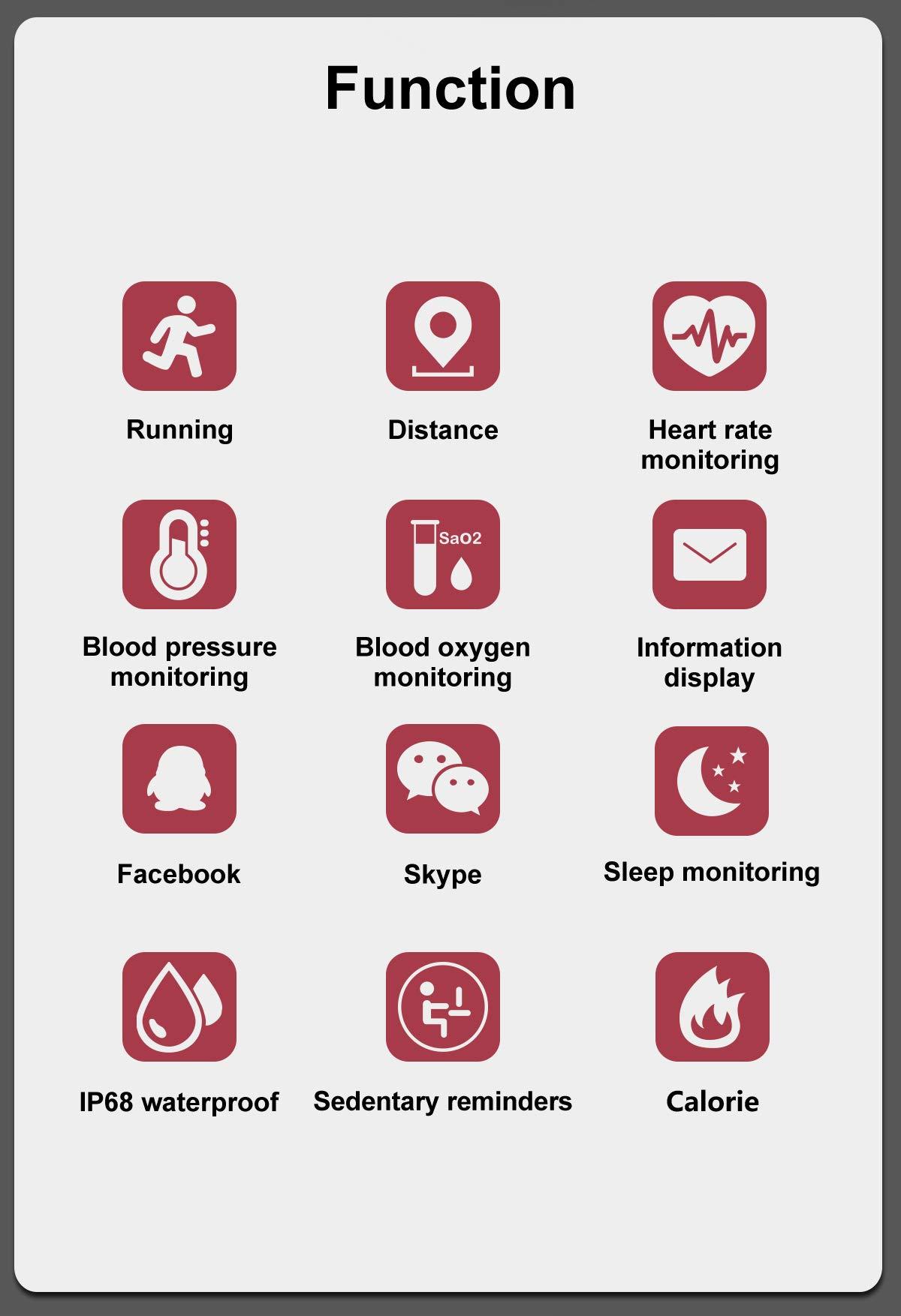 CHUANGE Fitness Tracker HR, Reloj de Seguimiento de Actividad con Monitor de frecuencia cardíaca, Banda de Fitness Inteligente a Prueba de Agua con Contador de Pasos, Adecuado para niños y niñas. 8