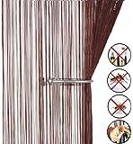 AIZESI Fadenvorhang 90x200cm Insektenschutz Türvorhang Trennwand Fenster Vorhang(Dark Coffee)