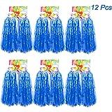 Creatiees 1 Dutzend Prämie Cheerleading Pom Poms, 12 Stücke Kunststoff Cheerleader Pompons Handblumen mit Ring Design zum Sport Cheers Ball Dance Kostüm Nacht Party Team Spirit