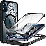 KKM Vidrio Templado Funda con Protector de Pantalla Incorporado y Protector de Lentes de Cámara para iPhone 12 Pro MAX 6.7 Pu