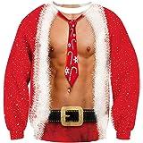 ALISISTER Hässliche Weihnachtpullover 3D Gedruckt Weihnachten Jumper Sweatshirt Langarm Ugly Christmas Sweater S-3XL