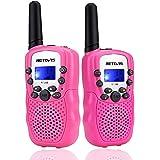 Retevis RT388 Walkie Talkie Niños Niñas,8 Canales LCD Pantalla Función VOX 10 Tonos de llamada Linterna Incorporado Juguete R