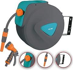 DMS Schlauchaufroller Gartenschlauchtrommel Wasserschlauchaufroller Schlauchtrommel Automatik inkl. Bewässerungsbrause Aufroller Garten Schlauch Wasserschlauch GST