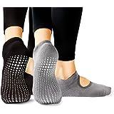 LA Active Grip Sokken - 2 Paar - Yoga Pilates Barre Anti-slip - Ballet (Zwart en Grijs, 37-40 EU)
