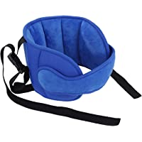 MaoXinTek Child Car Head Support, Adjustable Cotton Car Seat Headrest for Baby Kids Toddler, Head Protector Strap and Neck Support Band,Blue
