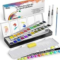 RATEL Acquerello Set, Set Pittura ad Acquerello tra Cui 24 Colori Solido pigmento + 1 Pennello + 2 pennelli per…